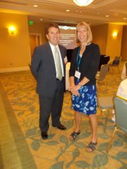 Nancy Smith talks to Phil Knox after his session on a team approach to caseflow management