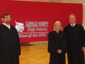 Nevada Chief Justice Michael Cherry, Justice Kristina Pickering, and Justice Mark Gibbons