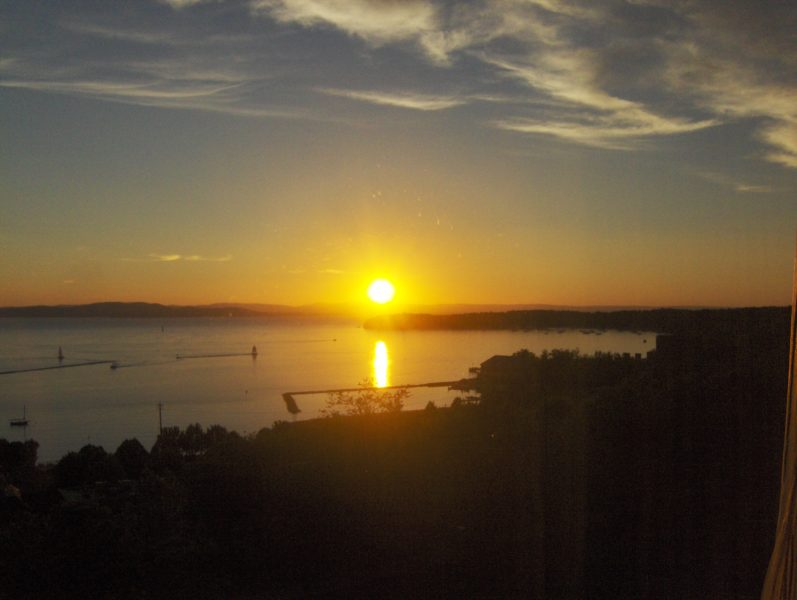 Sunset over Lake Champlain from the conference hotel (during 2013 CCJ/COSCA Conference) courtesy of Barry Forrest